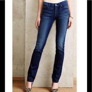 7FAM Kimmie Straight Leg Dark Wash Jeans 26 X 31.5